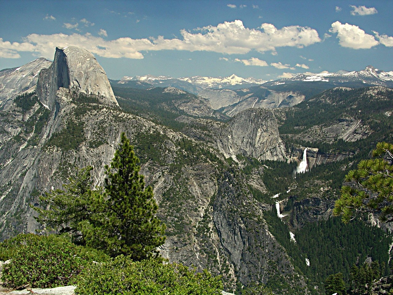 Half Dome and Nevada Falls as viewed from Glacier Point